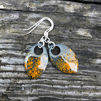'Muzzle Blast' enamel scale earrings. Sterling silver.