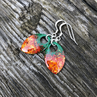 'Wild Flowers' enamel scale earrings. Sterling silver.