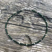 Dark green seed bead & sterling silver anklet