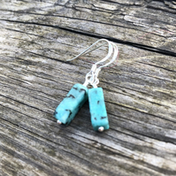 Turquoise Natural Stone Tube Earrings.  Sterling Silver  Earrings