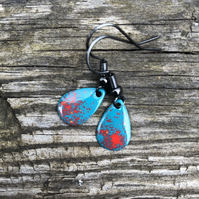 'Volcano' Enamel Teardrop Earrings. Sterling silver upgrade available.