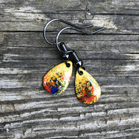 'Essence' Enamel Teardrop Earrings. Sterling silver upgrade available.