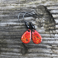 'Phepux' Enamel Teardrop Earrings. Sterling silver upgrade available.