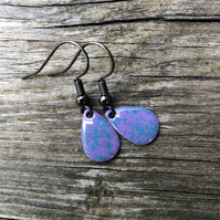 'Quickspark' Enamel Teardrop Earrings. Sterling silver upgrade available.