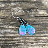 'Sanity' Enamel Teardrop Earrings. Sterling silver upgrade available.