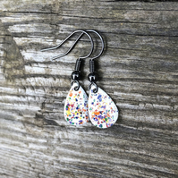 Rainbow Splash Enamel Teardrop Earrings. Sterling silver upgrade available.