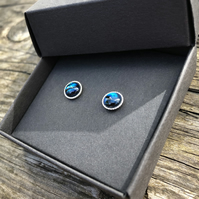 Blue Abalone Sterling Silver Stud Earrings