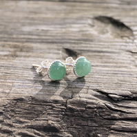 Aventurine Sterling Silver Stud Earrings