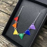 Rainbow Enamel Bunting Necklace. Sterling silver.