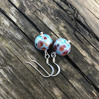 'Dreamy' Turquoise mix lampwork glass earrings. Sterling Silver