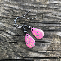 'Pansy' Enamel Teardrop Earrings. Sterling silver upgrade available.