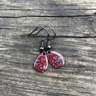 'Pixie' Enamel Teardrop Earrings. Sterling silver upgrade available.