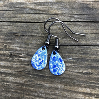 'China' Enamel Teardrop Earrings. Sterling silver upgrade available.