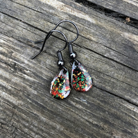 'Bangers' Enamel Teardrop Earrings. Sterling silver upgrade available.