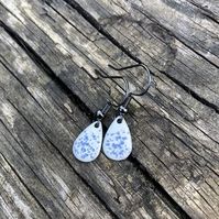 'Blue Fairy Dust' Enamel Teardrop Earrings. Sterling silver upgrade available.