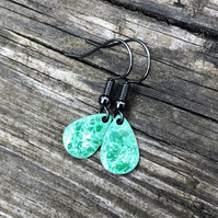 'Moss' Enamel Teardrop Earrings. Sterling silver upgrade available.