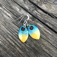 'Beach' enamel scale earrings. Sterling silver.