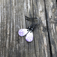 'Purple Fairy Dust' Enamel Teardrop Earrings. Sterling silver upgrade available.