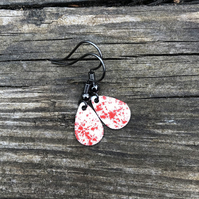 'Red Fairy Dust' Enamel Teardrop Earrings. Sterling silver upgrade available.