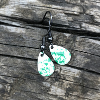 'Green Fairy Dust' Enamel Teardrop Earrings. Sterling silver upgrade available.