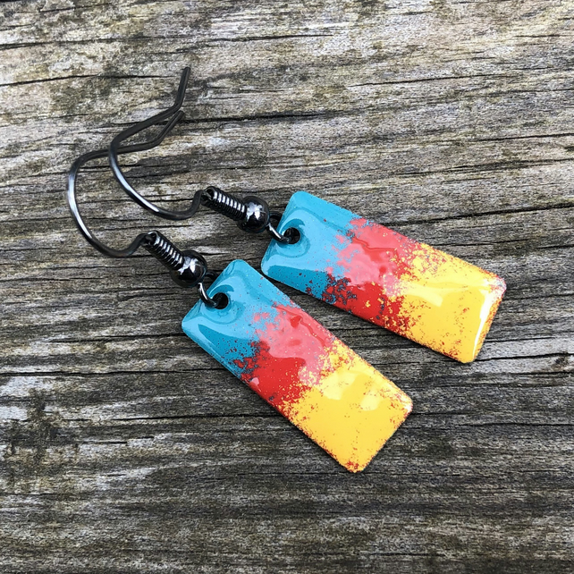'Sunset' Enamel Rectangle Earrings. Sterling silver upgrade available