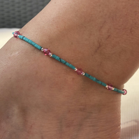 Pink Swarovski Sterling Silver & Turquoise Afghan beads. With extension chain.