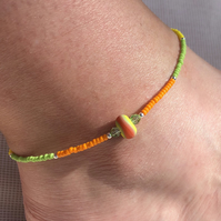 Lampwork glass and seed bead anklet. Sterling silver. Brightly coloured.