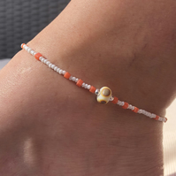 White & peach beaded anklet with focal lampwork bead. Sterling Silver anklet.