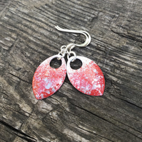 'Darla' Red, white and grey enamel scale earrings. Sterling silver.