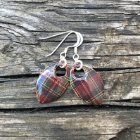 Tartan decoupage and enamel scale earrings. Sterling silver.