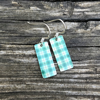 Pale Green Tartan Decoupage & Enamel Rectangle Earrings. Sterling silver.