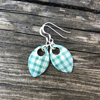 Green check decoupage and enamel scale earrings. Sterling silver.