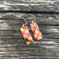 Red Tartan Decoupage & Enamel Rectangle Earrings. Sterling silver.