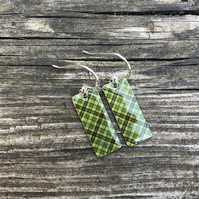 Green Tartan Decoupage & Enamel Rectangle Earrings. Sterling silver.