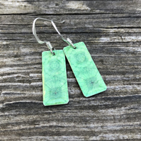 Green Decoupage & Enamel Rectangle Earrings. Sterling silver.