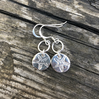 Pure silver starfish charm earrings