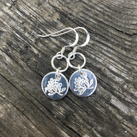 Pure silver olive branch charm earrings