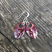 Dark red and silver leaf enamel scale earrings. Sterling silver.
