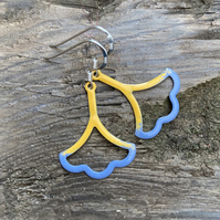 Mustard & Blue Enamel Flower on Sterling Silver Earrings