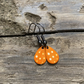 Orange & White Spot Enamel Teardrop Earrings. Sterling silver available