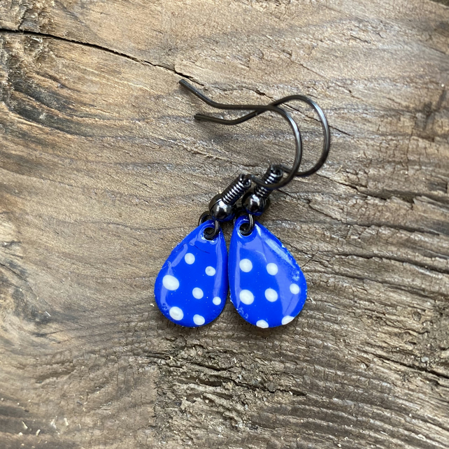 Blue & White Spot Enamel Teardrop Earrings. Sterling silver available