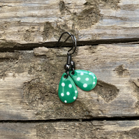 Green & White Spot Enamel Teardrop Earrings. Sterling silver available