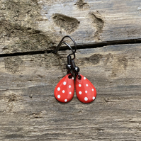 Red & White Spot Enamel Teardrop Earrings. Sterling silver available