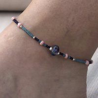 Pink & Blue Lamp Work Glass, Sterling Silver and Seed Bead Anklet.