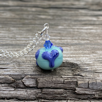 Turquoise & Blue Heart Lampwork Glass Pendant Necklace. Sterling Silver.