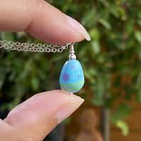 Turquoise Droplet Lampwork Glass Pendant Necklace. Sterling Silver.