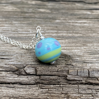 Turquoise round Lampwork Glass Pendant Necklace. Sterling Silver.