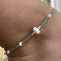 White & Sea Green Beaded Anklet. Sterling Silver. Extension Chain.