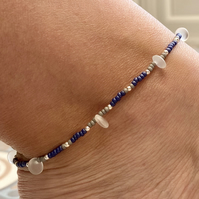 Czech Glass Disc & Seed Bead Anklet. Sterling Silver. Extension Chain.