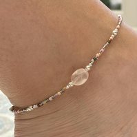 Rose Quartz & Miyuki Beaded Anklet. Sterling Silver. Extension Chain.
